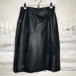 Vintage leather skirt lace detail